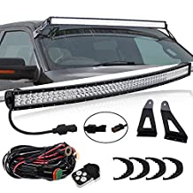 """TURBOSII 54"""" Curved LED Light Bar + Upper Roof Windshield Mount Mounting Bracket For 1999~2016 Ford F250 Super duty With 1 Lead Wiring Harness & Remote Control Kits"""