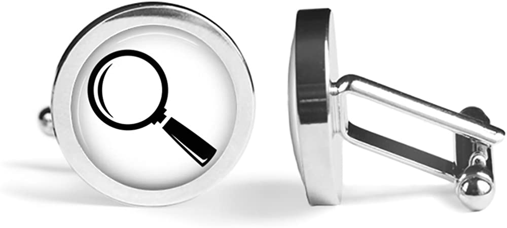 Magnifying Glass Cufflinks Detective Cuff Links Angled Edition