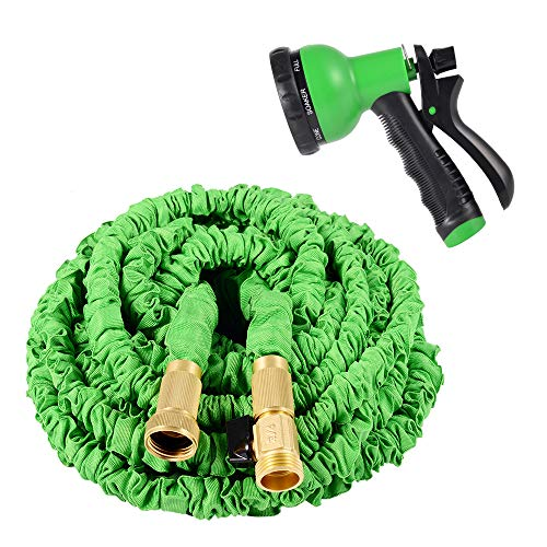 Kadaon 100 Feet Expandable Garden Hose with 8-Pattern Sprayer Nozzle (Green)