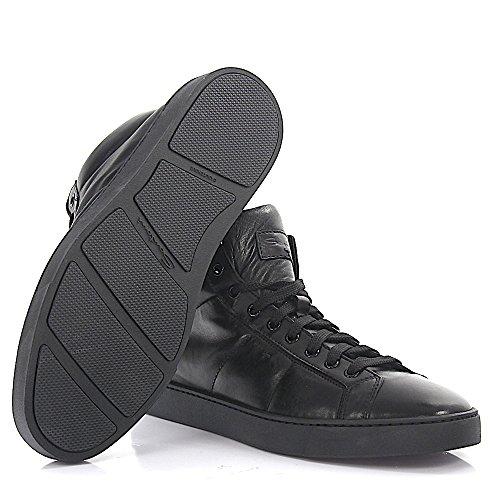 Santoni Sneaker Mid Top 20532 Zwart Lederen