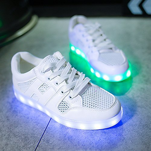 (+Small towel)Summer network models Colorful LED USB charging shoes breathable shoes luminous fluorescent shoes couple models men and c1 WbYhIqYum