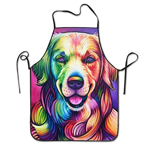Golden Retriever Dog Lock Edge Waist Home Kitchen Adjustable Easy Care Barbecue Lightweight Apron Dress For Family Use Chef Apron
