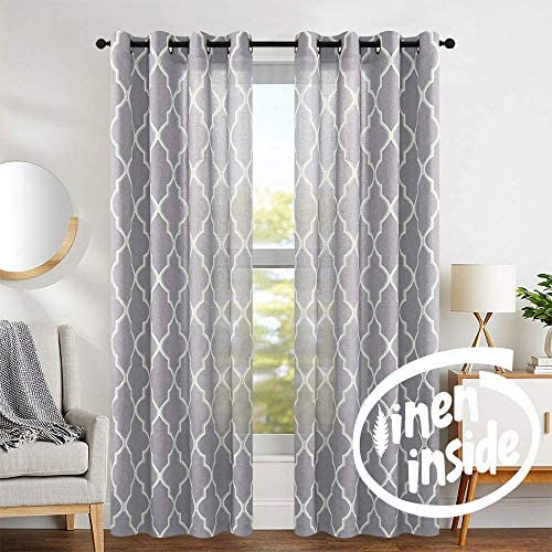 jinchan Moroccan Tile Pattern Linen Curtains 108 inch Long for Bedroom Curtain Living Room Window Drapes Lattice Grommet Top Set of Two Quatrefoil Grey 108 inches