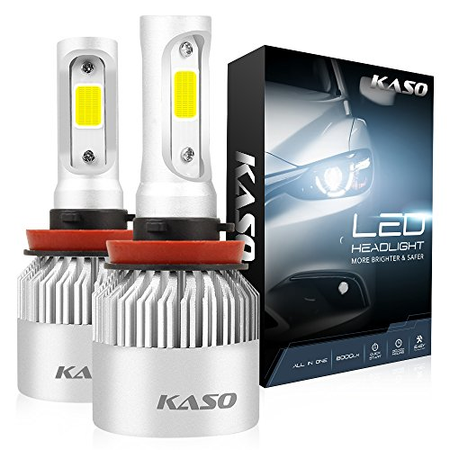 H11 LED Headlight Bulbs - KASO All-in-One Conversion Kit Fog Lights H8 H9 8000LM 72W/Set 6500K Cool White Highly Waterproof 3 Years Warranty (H11 H8 H9)