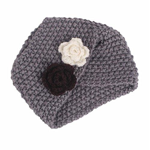 (Qhome Winter Girls Knit Beanie Flower Knitted Turban Headband Kids Cap Acrylic Knitting Turbante Hat Hair)