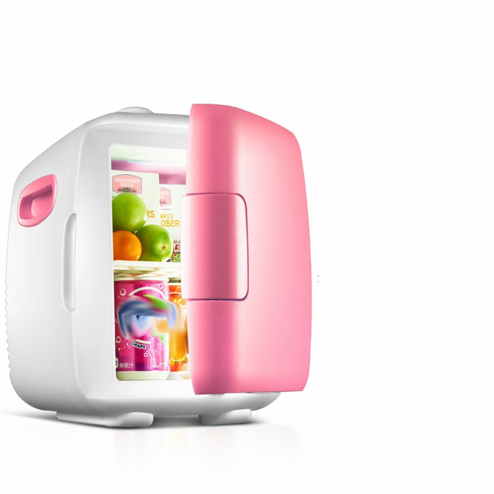 HOMEE @ Car Refrigerator 4L Home Small Refrigerator Car Home Dual - Use Dormitory Small Refrigeration Cold Frozen Micro - Type,Pink,4L