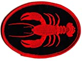 LOBSTER - SHELLFISH - RED - MAINE - SEA CREATURE--Iron On Embroidered Patch