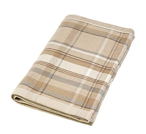 McAlister Textiles Heritage | Decorative Table Runner in Natural Beige | 14 x 48 Inches | Plush Wool-Textured Flannel Buffalo Plaid | Tartan Check Farmhouse Cabin Accent Décor