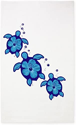 CafePress Blue Hibiscus Honu Turtles 3'X5' Decorative Area Rug