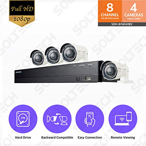 Samsung Wisenet SDH-B74041BV 8 Channel 1080P Full HD DVR Video Security System with 1TB Hard Drive and 4 1080p Varifocal Bullet Cameras (SDC-9443BV)