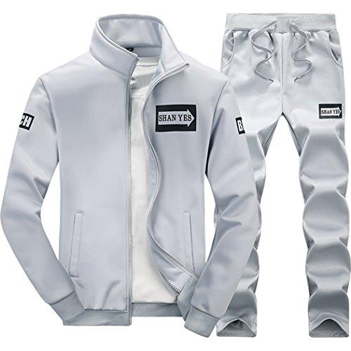 M Lord  Tm  Mens Long Sleeve Sweatsuit Jogger Baseball Jacket   Pants Grey L