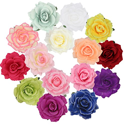 Cubaco Rose Hair Clips and Brooches for Women Girls, 15 Packs Vintage Flower Brooch Pin Boho Hair Clip (Hair Flower Clips)