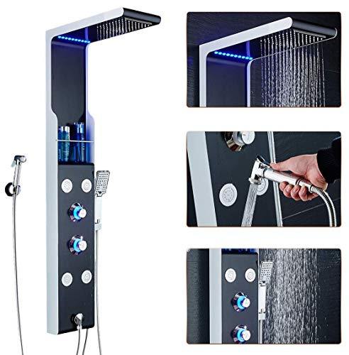 (ELLO&ALLO LED Rainfall Waterfall Shower Head Rain Massage System with Body Jets & Hand Shower Stainless Steel Bathroom Shower Panel Tower System, Black and Silver)