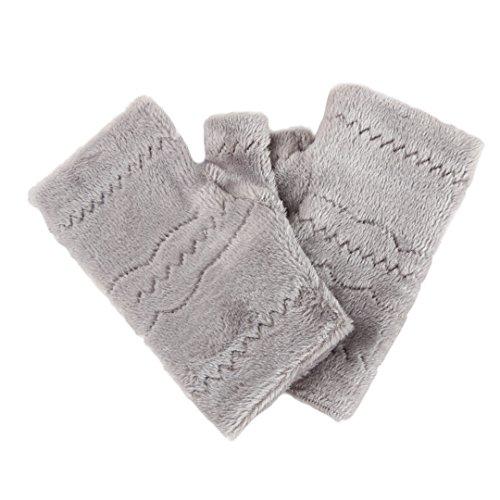 Winter Autumn Thick Warm Gloves Keyboard Leak Finger Gloves Gray - 2