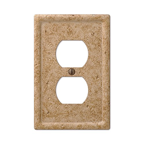 Tumbled Faux Textured Stone Duplex Outlet Wall Plate, Noce Resin Duplex Electrical Accent Wall Plate