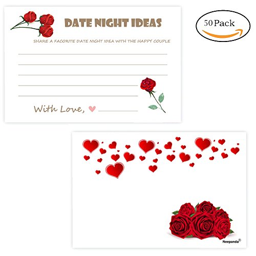 Sweetheart Guest Book - Neepanda Floral Date Night Ideas Cards for The Happy Couple, Wedding, Bridal Showers Or Engagement Parties - 50 Pack Wedding Advice Cards, Rose and Sweet Heart Pattern, 3.5 X 6 inches