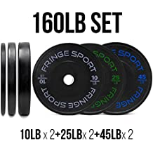 160 Lbs Bumper Plates Set / Virgin Rubber Olympic Weight Plates for Crossfit Training / Weight Lifting By Onefitwonder Pair of 10 lbs,25 lbs,45 lbs