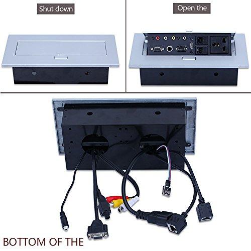 E-best Multimedia Pop up Desktop Power Office Hidden Desktop Socket Multi Outlet with HDMI /VGA /AV / Audio / Universal Power Socket / USB2.0 / 2 Network / 6.35 Mic Interface by Ebest (Image #4)