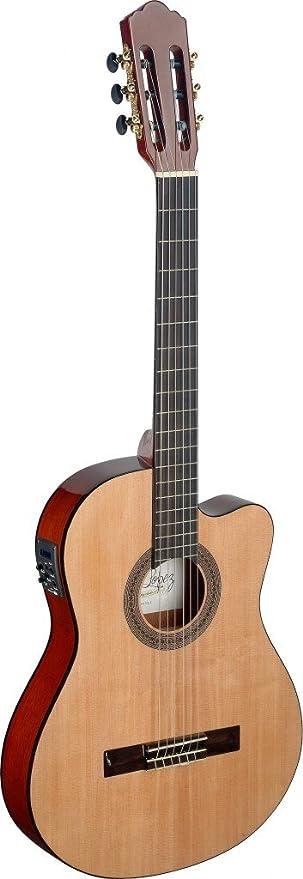 Mencia Series Cutaway - Guitarra acústica eléctrica clásica con cuerpo fino y parte superior de abeto sólido con cuerdas Aquila