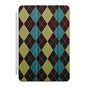 CUSTOM Smart Cover (Magnetic Front Cover / Stand) for Apple iPad Mini 1 / 2 / 3 - Brown Green Teal Argyle