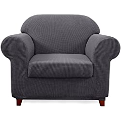 Subrtex 2-Piece Spandex Stretch Sofa Slipcover (Chair, Gray)