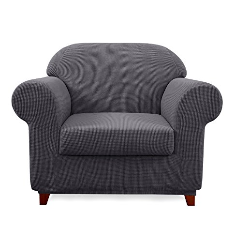 Subrtex 2-Piece Jacquard High Stretch Armchair Slipcover, Furniture Protector for Sofa, Spandex Washable 1 Seater Cushion Couch Sofa Cover Coat (Chair, Gray)