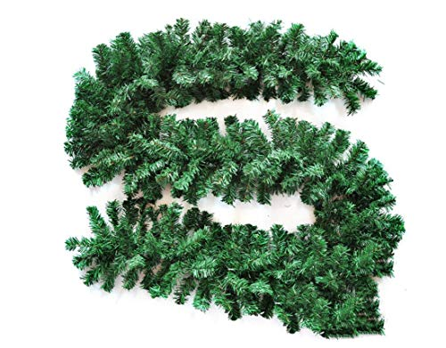 INTERGREAT Christmas Artifical Spruce Garland Decoration, 9-Ft Unlit Xmas Pine Garland for Fireplace, Mantel, Stairs Railings and Doorway, Front Door (180T)