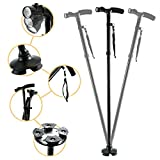 Folding Walking Cane, Adjustable Walking Stick with LED Light Ultra Stable Cane Tip for Men and Women - Collapsible, Lightweight and Portable Walking Stick Mobility Aid