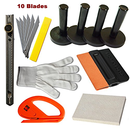 Vinyl Magnet Applied (Ehdis New Installation Tool Kit for Car Auto Glass Protective film Installing Vehicle Pro Windshield Film Wrap Scraper Application ToolKits)