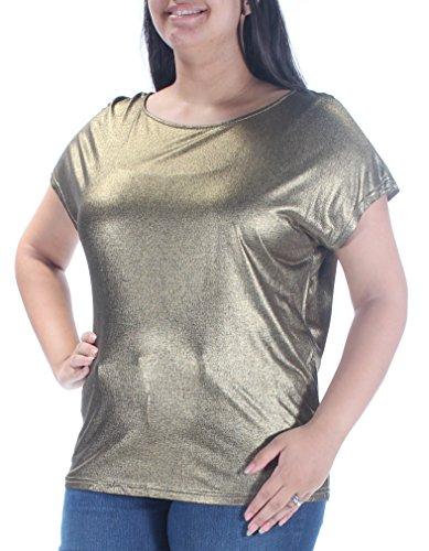 Lauren Ralph Lauren Womens Metallic Jewel Neck Casual Top Gold ()