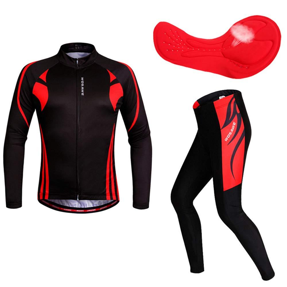 ROOKLY Herren Radtrikot Anzug Langarm Mountainbike Rennrad Shirt Strumpfhosen Biking Jakcet Outfit,XXL