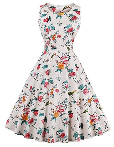 40adeb42bbe3 Bestfort Vintage Kleider Damen 50er Retro Mode Rundhals Cocktailkleider  Knielang Ärmellos Festliche Kleine Blumen Rockabilly Kleid