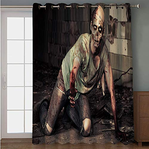 Blackout Patio Door Curtain,Zombie Decor,Halloween Scary Dead Man in Old Building with Bloody Head Nightmare Theme,Grey Mint Peach,for Sliding & Patio Doors, 102