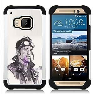 """HTC One M9 /M9s / One Hima - 3 en 1 impreso colorido de Altas Prestaciones PC Funda chaqueta Negro cubierta gel silicona suave (Enfriar Piloto del motorista de la acuarela Actor Hombre"""")"""