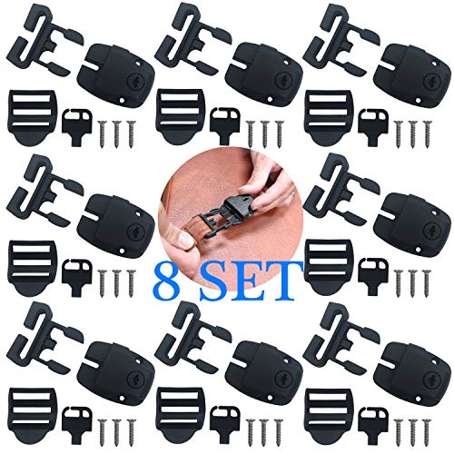 8 Set Spa Hot Tub Cover Broken Latch Repair Kit Have Slot, Replace Latches Clip Lock with Keys and Hardwares for Spa Hot Tubes and Others