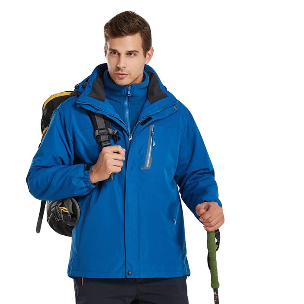 Cappotto Giacche con Removibile Fodera in Pile Caldo da Escursione Campeggio Sci Montagna WanYangg Uomo Giacca 3 in 1 con Cappuccio Impermeabile Antivento Softshell Giacca da Trekking