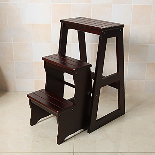 Ladder Chair Wood Step Stool Folding 3 Tier Bench Seat Utility Multi-functional Ladder Stool (Color : Black walnut)