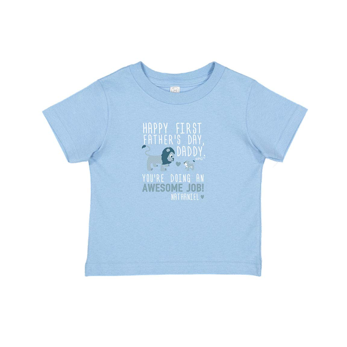 Personalized Gifts Happy First Fathers Day Daddy Blue Lion Infant T-Shirt