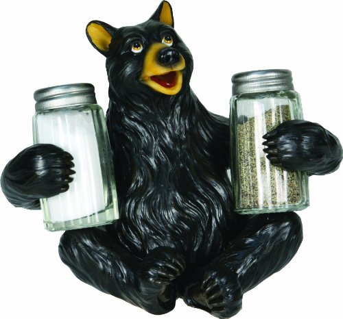 (River's Edge Hand Painted Poly Resin Salt and Pepper Shaker Set (Black Bear))