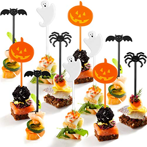 Jetec 100 Pieces Halloween Food Picks Cupcake Toppers Decorations Halloween Party Picks Food Picks Holiday Appetizer Picks with Pumpkin Ghost Spider Bat Design -