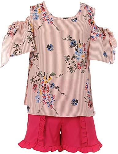 (Little Girl Cold Shoulder Blouse Top Ruffle 2 Pieces Short Set Girls Clothing Girls Pink 6)