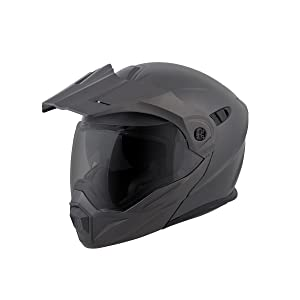 ScorpionEXO Unisex-Adult Modular/Flip Up Adventure Touring Motorcycle Helmet (Anthracite, Medium) (EXO-AT950 Solid)