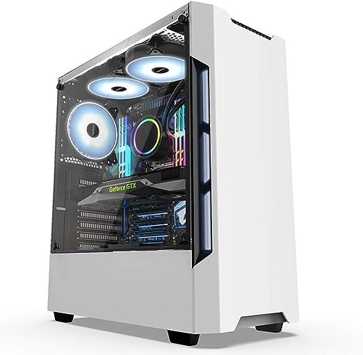 XZ15 Estuche for PC de Torre Mediana de Vidrio Templado con Ventilador y refrigeración líquida, ATX, Micro-ATX, Mini-ITX, Gamers (Color : White): Amazon.es: Hogar
