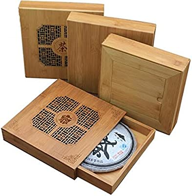 Wholesale - Handmade Puer Tea Box Bamboo Storage Boxes, Eco-Friendly Tea Set Square Puer Tea Plate Carvings Tea Gift Packaging Fashion Kitchen Accessories ...