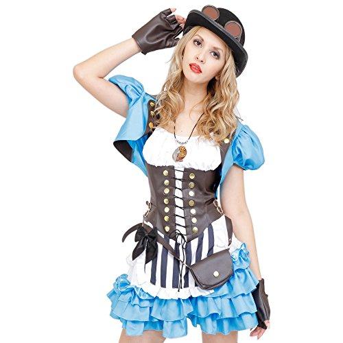 STEAMPUNK - Clockworks Alice Costume, Light Blue, Women's Standard Size ()