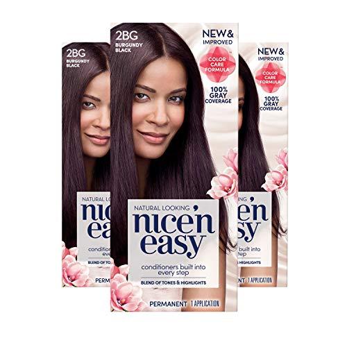 Clairol Nice 'n Easy Permanent Hair Color, 2BG Burgundy Black, 3 Count (Packaging May Vary)