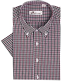 Mens Fitted Button up Shirts - Plaid Short Sleeve Non-Iron Button Down Collar