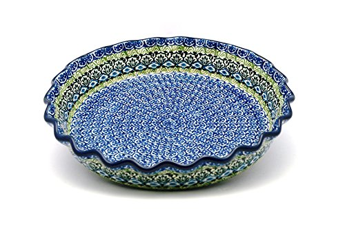 Polish Pottery Baker - Pie Dish - Fluted - Tranquility ()