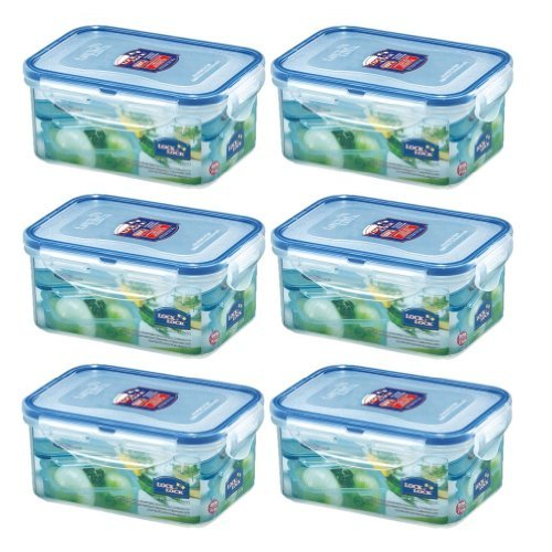 (Pack of 6) LOCK & LOCK Airtight Rectangular Food Storage Container 20.29-oz / 2.54-cup (Lock Lock Rectangular Cup &)