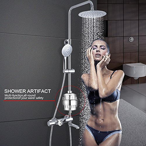 Budalga Universal Shower Water Filter With 2PCS Replaceable Multi-Stage Filter Cartridge Chrome Work With Any Shower Head by Budalga (Image #5)